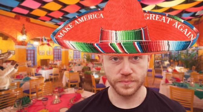 "Guy Wearing ""Make America Great Again"" Sombrero Feels Like An Outsider At Party"