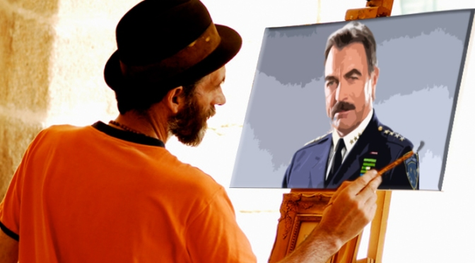 'Millennial Picasso' Enters Blue-Blood Period, Exclusively Paints Tom Selleck