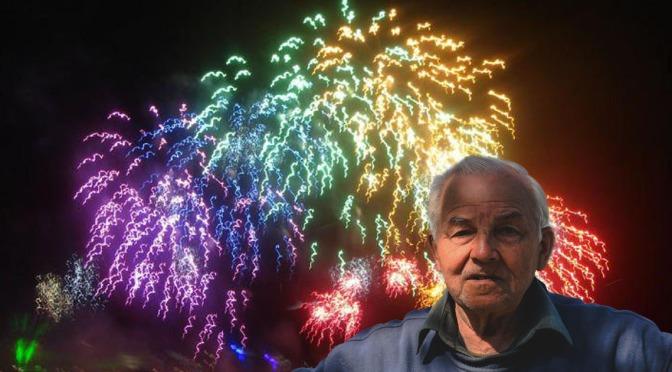 Red Wings Rainbow Fireworks Display Triggers Everyone's Grandpa