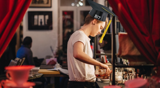 RIT Grad Excited to Pay off Photography Degree by Working at Java's for the Next 72 Years