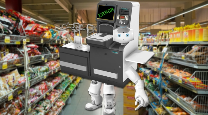 Self Checkout Machine Becomes Self Aware, Still Can't Scan Item