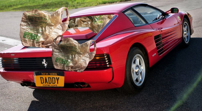Danny Wegman Peels Out of Parking Lot in Ferrari Filled With Plastic Bags