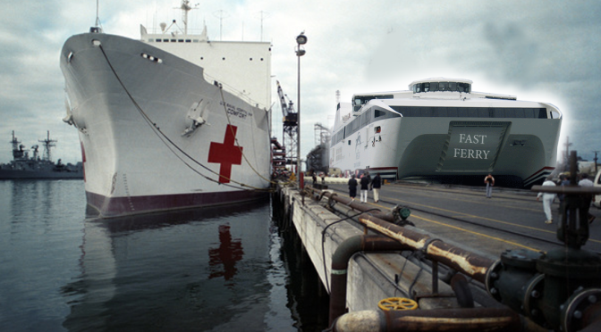 Fast Ferry Docks Next to USNS Comfort, Ready to Help Anyone With Debilitating Urge to Go to Toronto