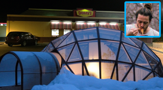 'Finally, a Little Normalcy,' Says Man Huddled Inside Snow Globe Outside Restaurant